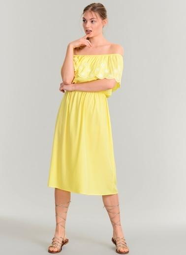 Agenda Nakışlı Elbise Sarı